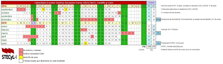 Calendario Escolar curso 2014-2015 - Stecyl-i