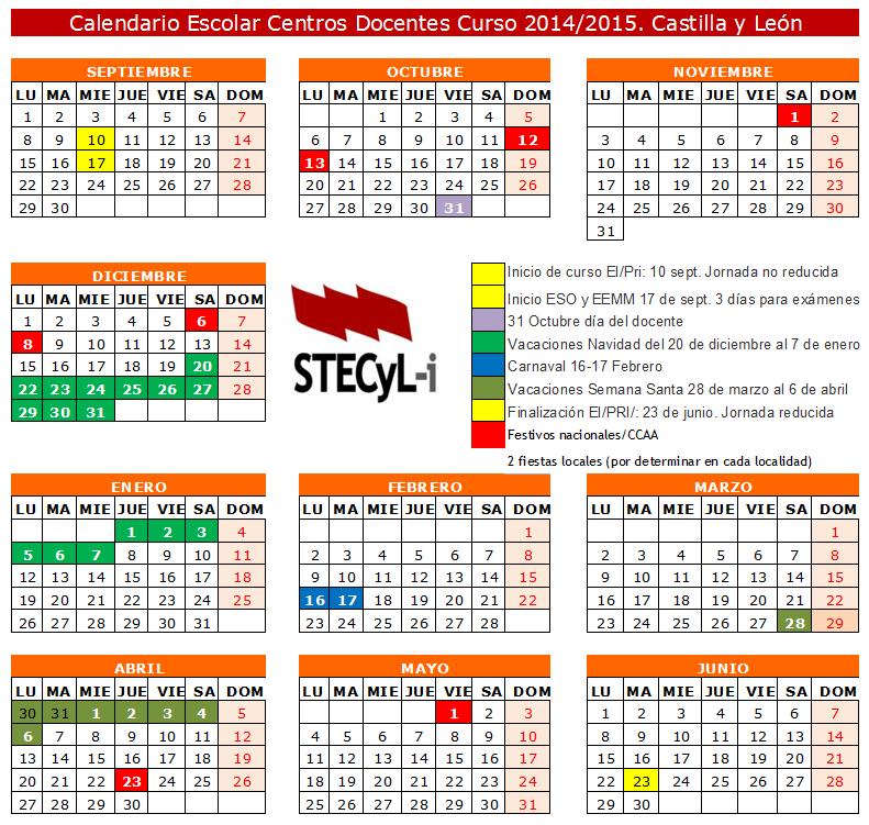 Calendario Escolar Curso 2014 2015 Stecyl I